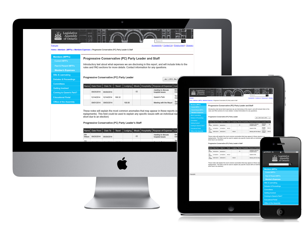 responsive design featuring desktop, tablet and mobile versions